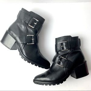 Mango Womens Black Leather Ankle Buckle Heel Boots